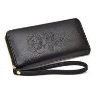 Mrs Win Fashion Genuine Leather Women Long Purse Flower Embossing Female Zipper Wallet Money Clips Woman