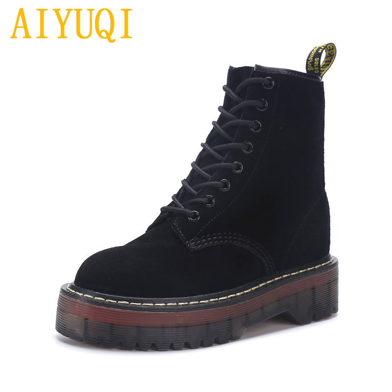 Image 3 - AIYUQI Female Martin boots 2019 spring new genuine leather women's booties, fashion with thick bottom and plush boots women-in Ankle Boots from Shoes