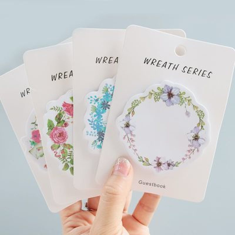 1pcs Wreath Memo Pad Kawaii Stationery Sticky Note Novelty Picture Planner Stickers Beautiful Kawaii Stickers School Supplies