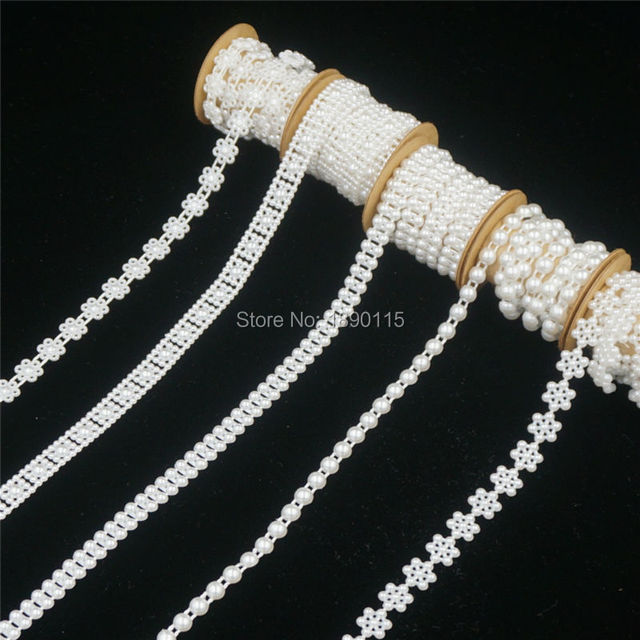 1Meters Pearl String Plastic Beads Garland Chain Vintage