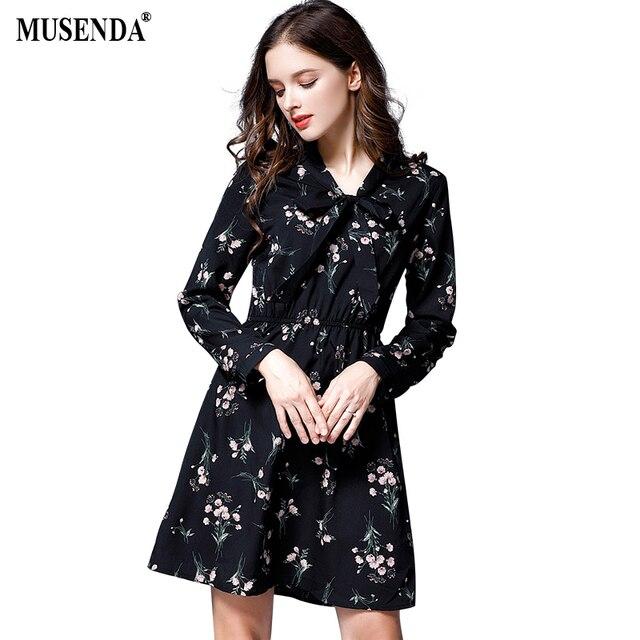 MUSENDA Plus Size Women Black Chiffon Print Bow Tunic Short Dress 2017  Autumn Female Sweet Big Dresses Vestido Clothing Robe 0ff788401dd3