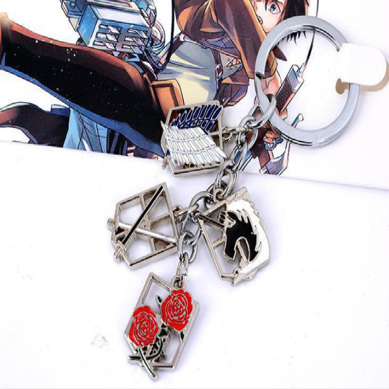 Anime ATTACK ON TITAN Shingeki no Kyojin Multi Badges Charm Keyring Keychain