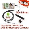 5 M 3.5 M mini Android USB Endoscópio Camera 2 M 1.5 M 1 M IP67 À Prova D' Água Cobra Tubo de inspeção Android OTG Câmera Borescope USB