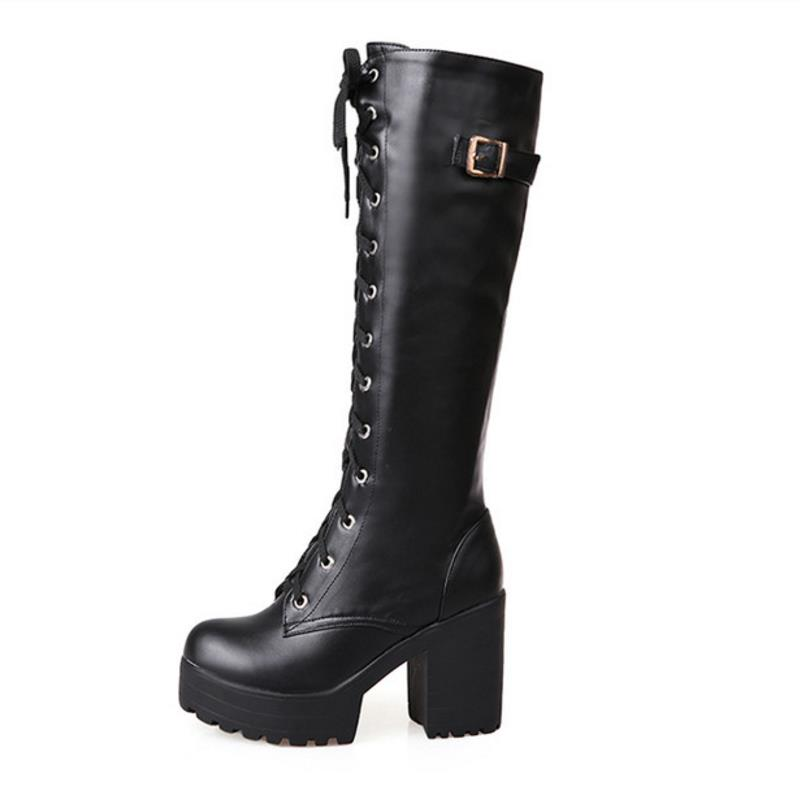 Image 2 - KemeKiss 2020 Plush size 34 43 Sexy high heels Knee High Boots Woman Platform Winter women's Shoes add Fur Snow Boot footwear-in Knee-High Boots from Shoes