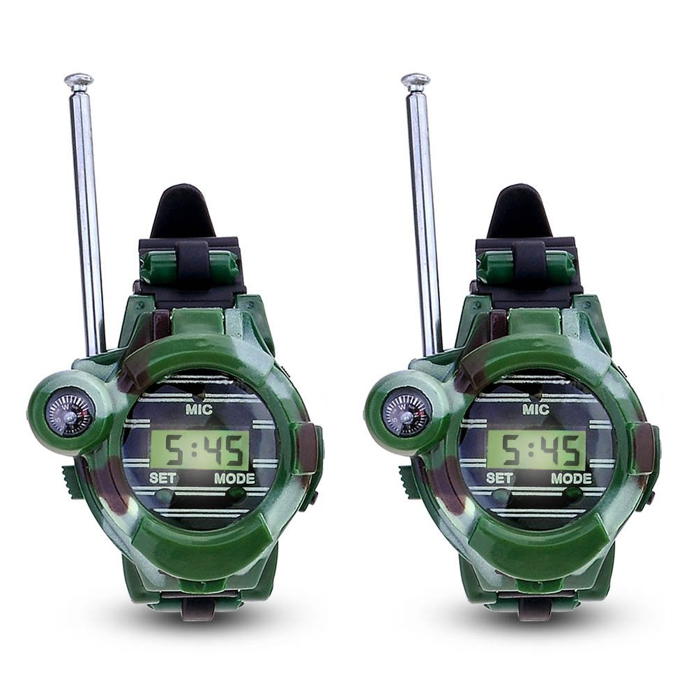 1 par LCD Radio 150 m relojes Walkie Talkie 7 en 1 niños Reloj Radio exterior Interphone juguete (Color: verde)