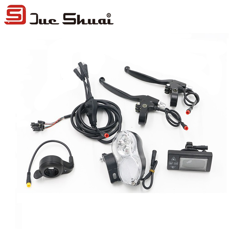 JS 5 Parts Sets 36V 500W Electric Bicycle Conversion Kit LCD Display Front Light Throttle  Brake Lever Waterproof Wire  цены