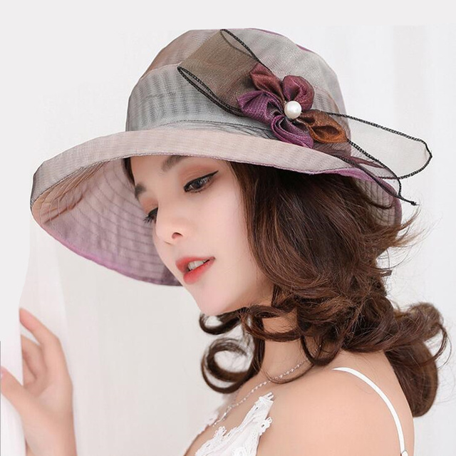 4d68fcabc75 Summer Hats for Women Solid Satin Feather Floral Wide Brim Sun Hats Ladies  Floppy Hats for
