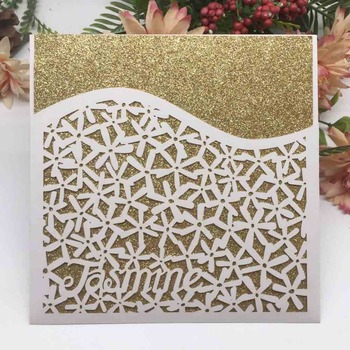 100pcs/lot Luxury Customized desi gn Wedding Invitation Card  Birthday Party Dinner Invite Wedding Decorations Greeting Card