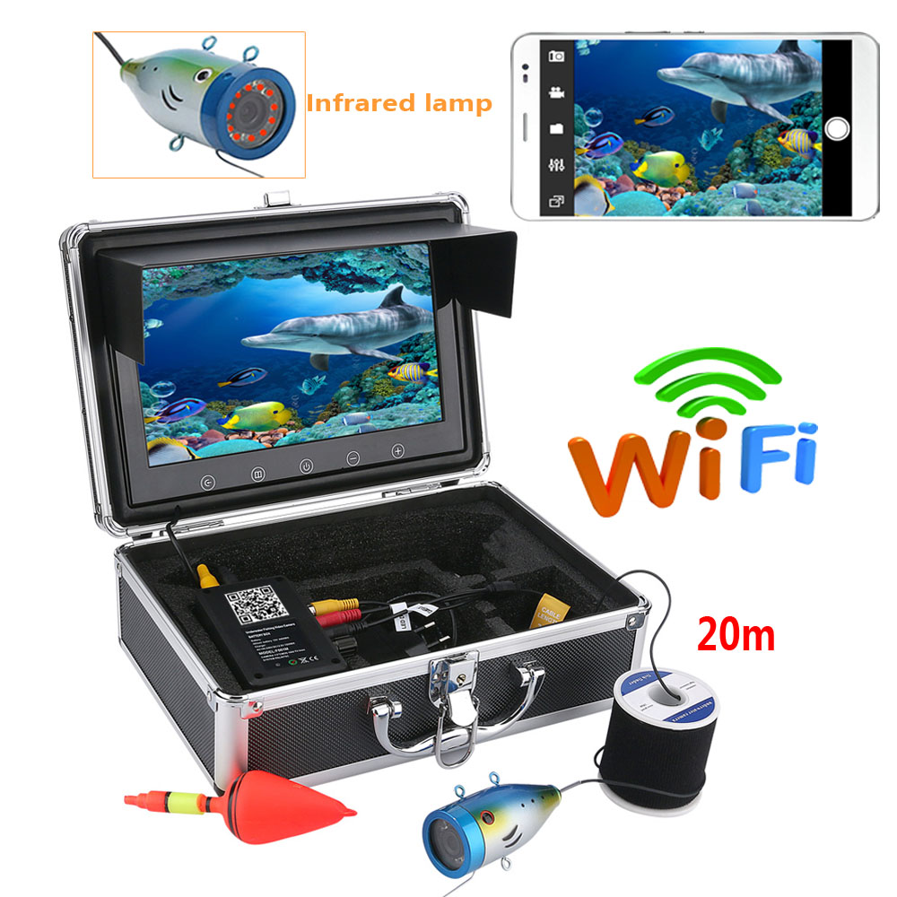 PDDHKK 9 Inch Color Monitor Wifi Wireless Underwater Fish Finder 1000tvl Fishing Video Camera Kit For IOS Android APP Video image