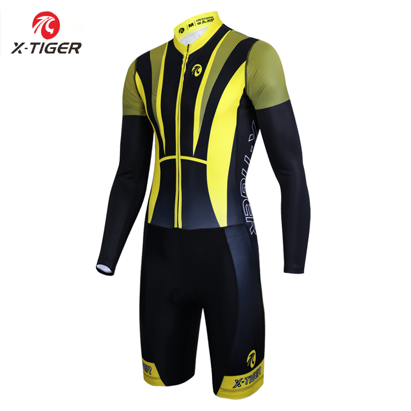 X Tiger Triathlon Running Swimming Bicycle Clothes Compression Sponge Padded Ropa De Ciclismo Autumn Long Sleeve