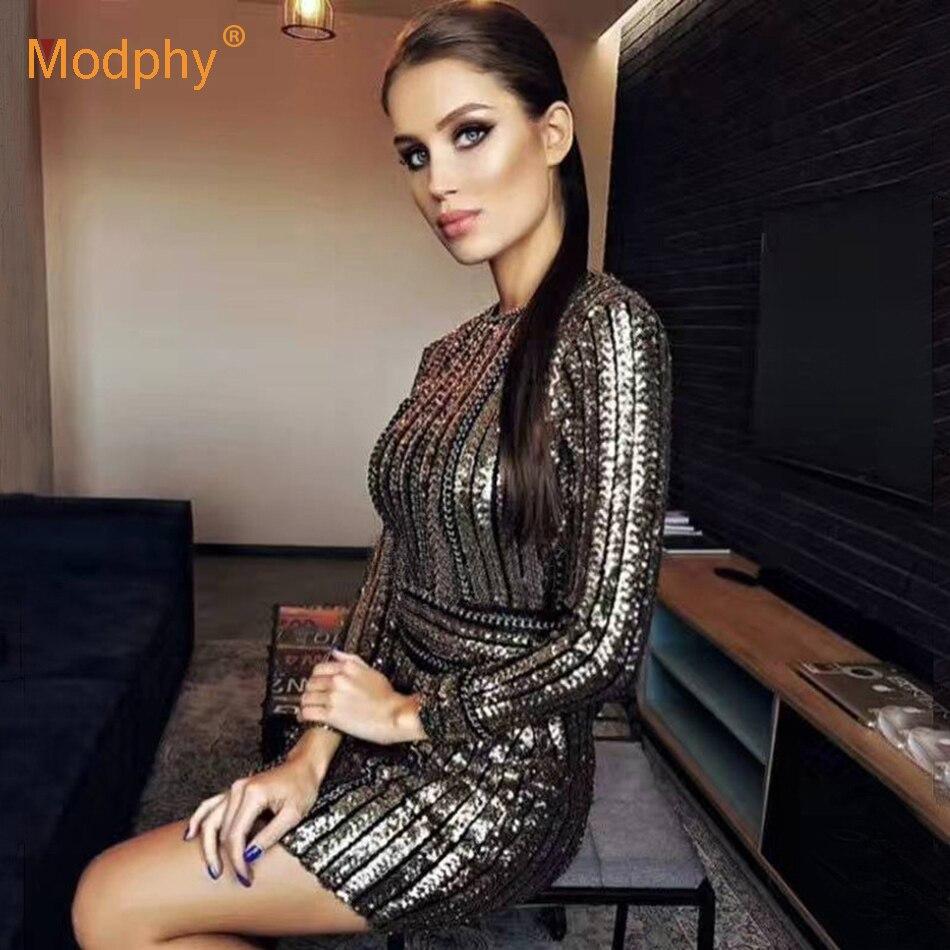2018 hiver nouvelle robe bandage or noir à manches longues rayé sequin robe célébrité fête sexy discothèque robe moulante Vestidos