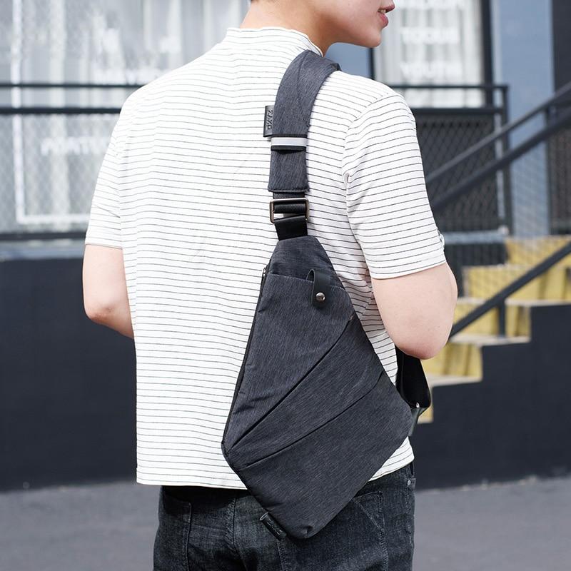 Large Capacity Anti-Theft Mens Messenger Bag Sling Shoulder Bags Black Men Hidden Chest Pack Mens Retro Crossbody Bag Cool Male