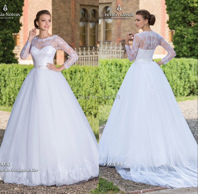 Best Selling Luxury Beaded Lace Ball Gown Wedding Dress Long Sleeves ...