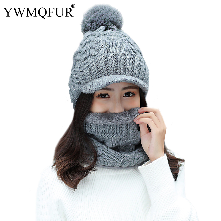 2018 Winter Thickening Warm Hat Scarf Sets For Women Solid Lady PomPom Vintage Knit Outdoor Baseball Caps Female Rings Scarves