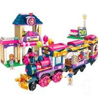 Genuine ENLIGHTEN 2015 690Pcs Girls Friend Maersk Train Railway Station Model Building Block Toys For Children Compatible Legoe