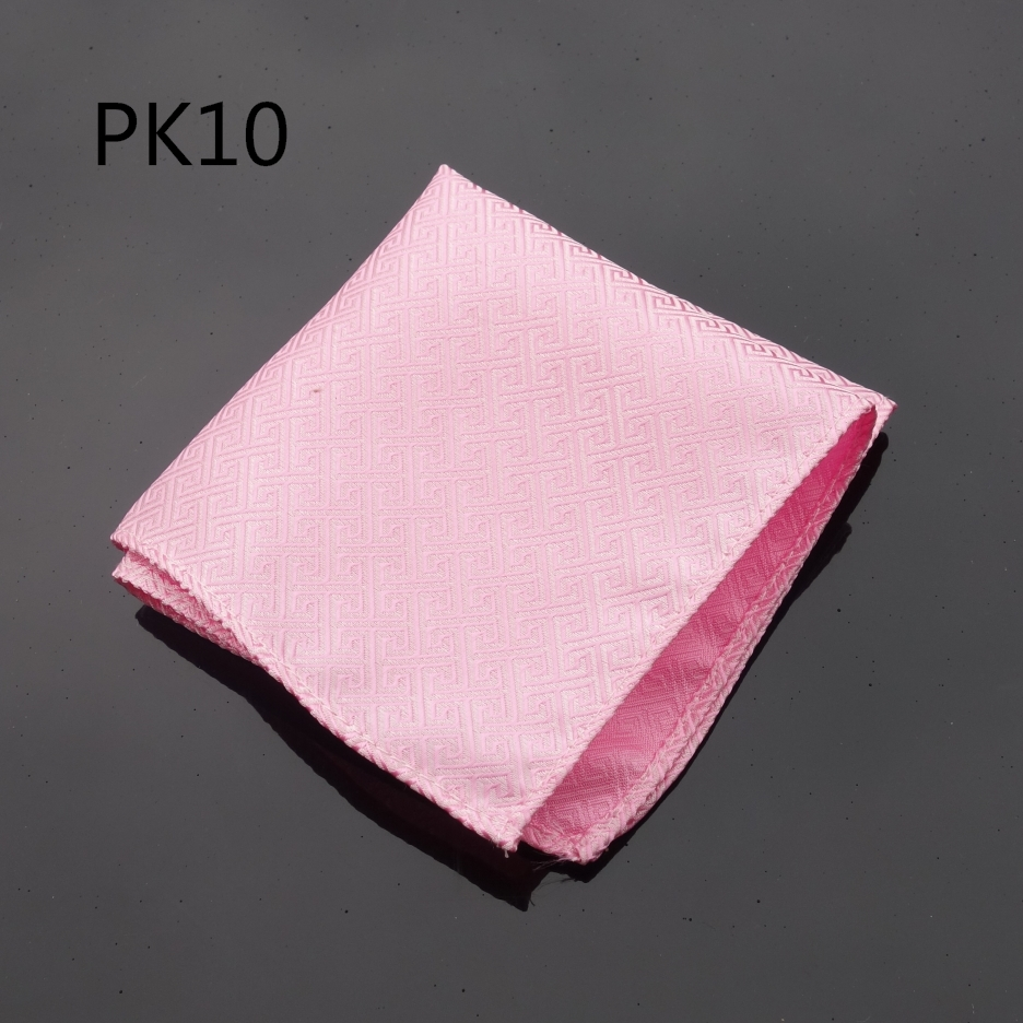 Hankerchief Pink Checked  Hanky Men Tie Jacquard Woven Pocket Square Fashion