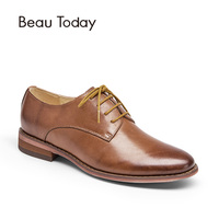 BeauToday Genuine Leather Oxfords Shoes Women Fashion Spring Autumn Lace Up Round Toe Waxing Cow Leather