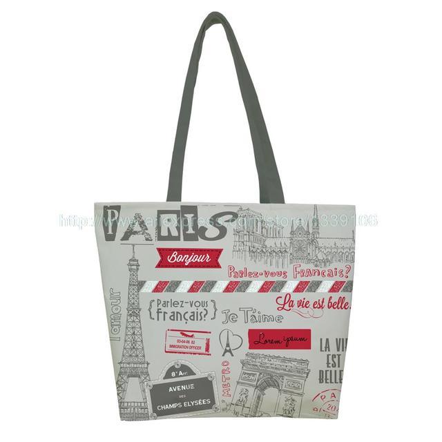 eb559a792 1 PC Moda Paris Estilo de Impressão Personalizado reutilizável dobrável  Shopping Bag Oxford pano bolsa bolsa