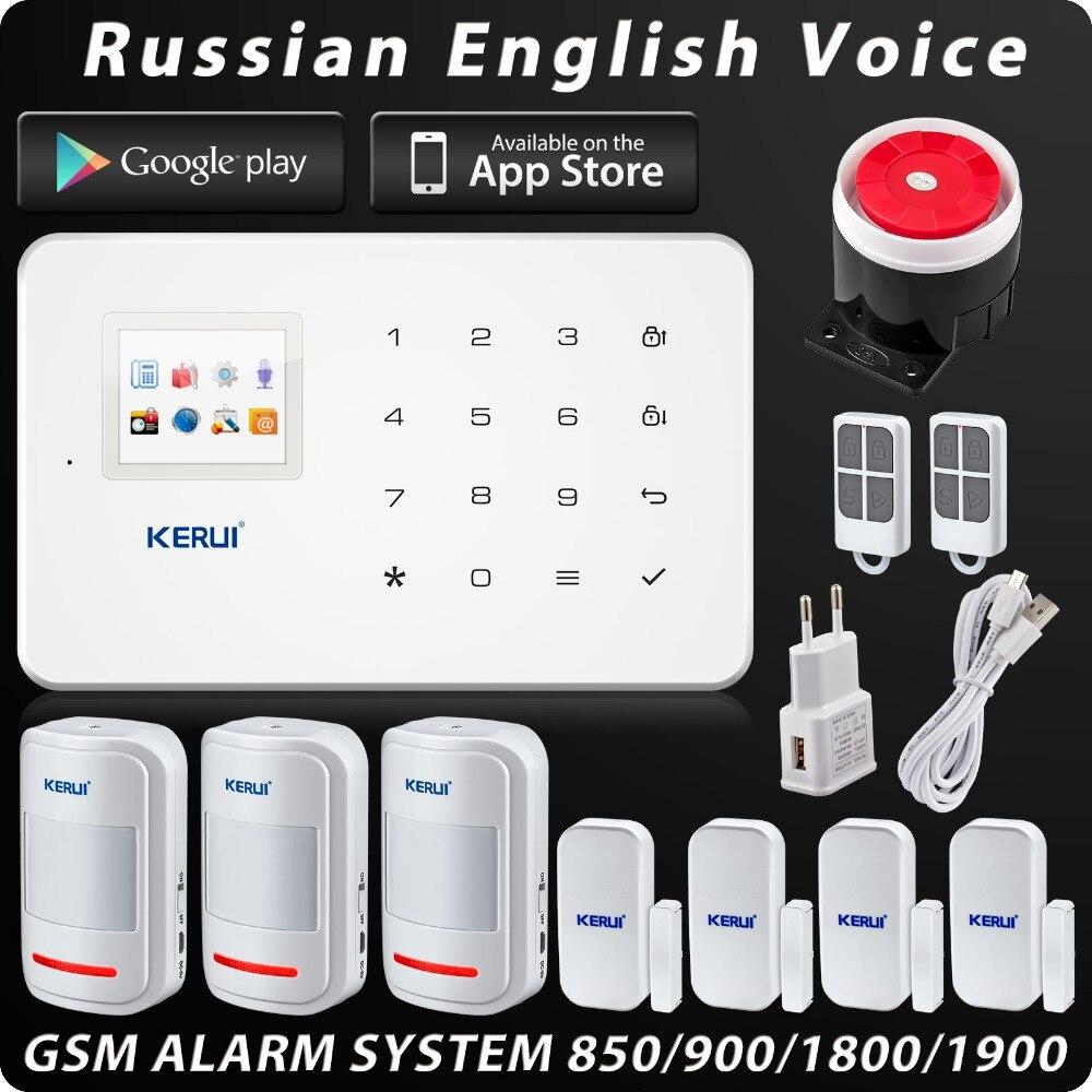 Kerui G18 Security Alarm System IOS Android APP Burglar Security Alarm 99 Wreless Zone Built-in Siren English/Russian Voice