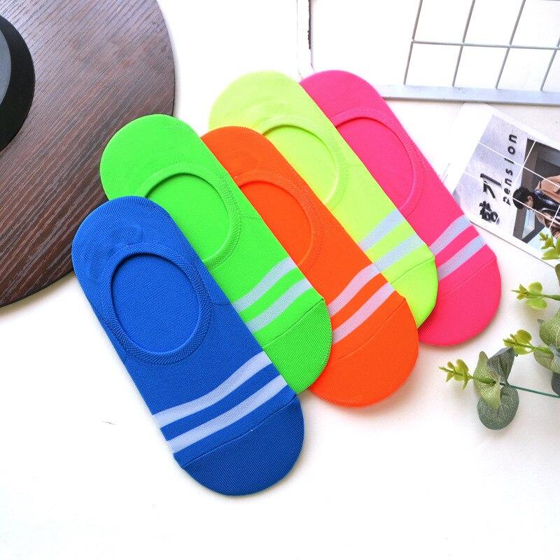 Fluorescent candy color striped socks fashion personalized invisible women spring summer breathable non slip korean cotton sock