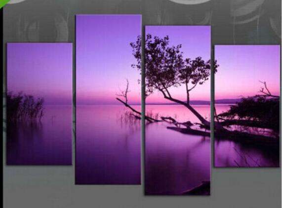 Enorme olieverfschilderij landschap panelen paars meer moderne