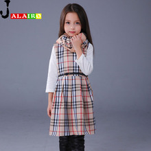 Été Fille Robe Sans Manches En Coton Casual Enfants Robes O-cou Plaid Enfants Robes Pour Les Filles De Mode Bébé Robe Pour Les Filles