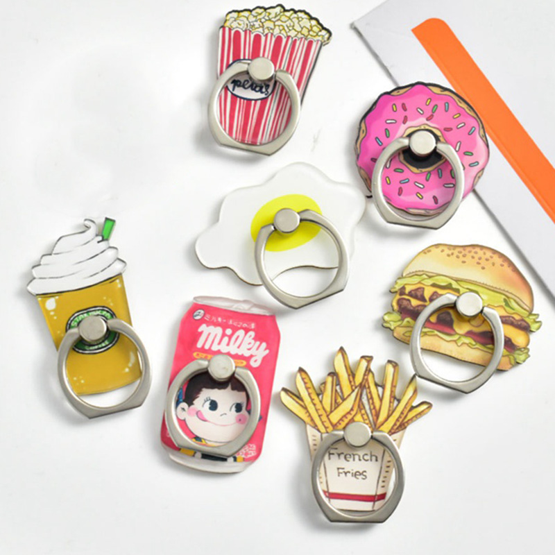 Universal Metal Finger Ring Mobile Phone Holder Stand Funny Chips Coffee Hamburgers Pattern Phone Ring
