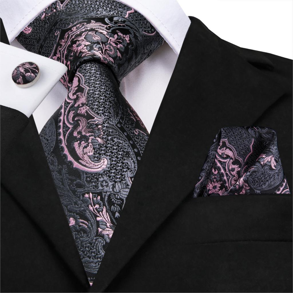 Red Checks Silk Tie Set Mens Necktie Pocket Square Cufflinks Wedding Party