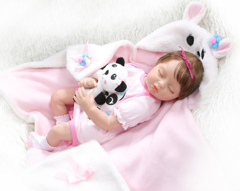 Bebes reborn realista силиконовая кукла 22 дюймов реалистичный Новорожденный ребенок Спящая кукла для детей подарок на день рождения игровой дом игру