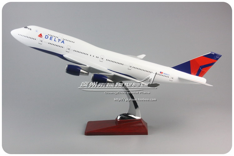 47cm Resin Airplane Model B747 Delta Airlines Boeing 747-400 Airbus Aircraft Model American DELTA Aviation Airways Stand Craft