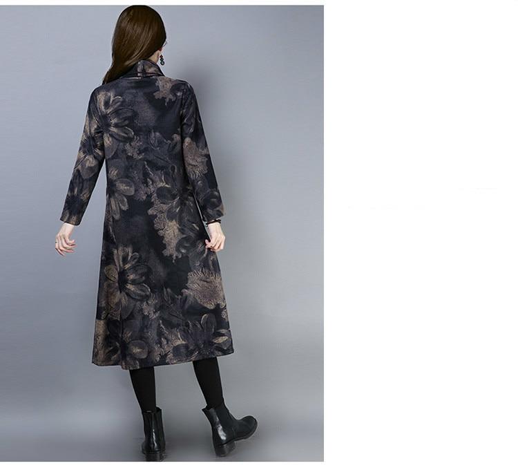 2019 New Women Spring Autumn Dresses Turtleneck Printed Female Long Sleeve Vintage Robe Dress Vestido 70