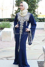 Navy Blue Chiffon Luxury Crystal Beaded Moroccan Kaftan Hijab Muslim Evening Dress Caftan Marocaine robe de soiree