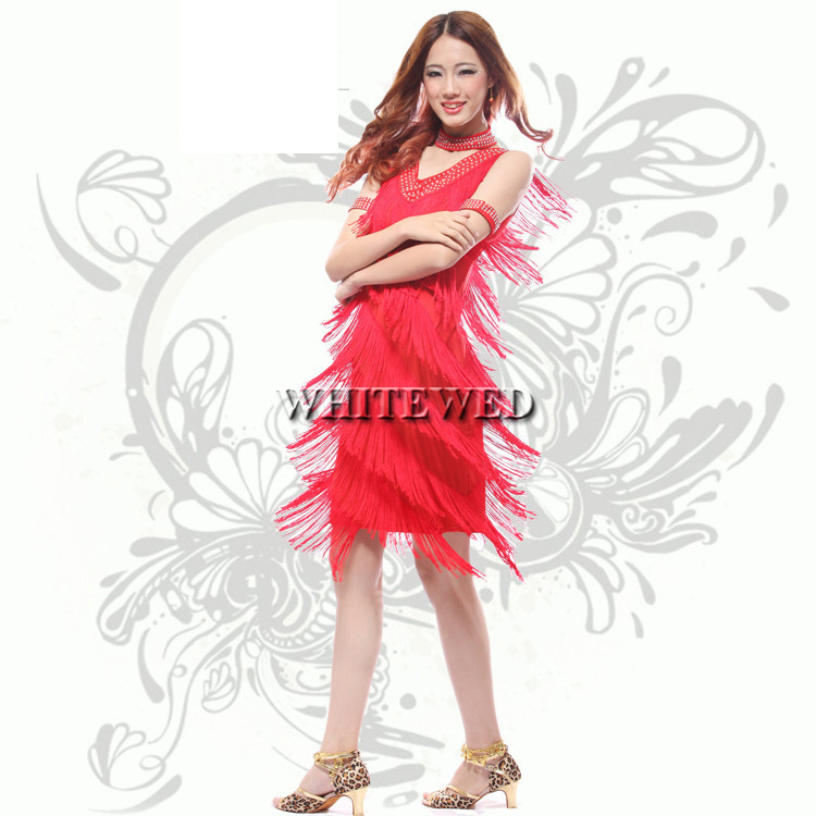 US $31.99 |red pink yellow fringe roaring 20\'s 1920 era latin salsa flapper  girl charleston dance halloween prom costumes dress plus size-in Dresses ...