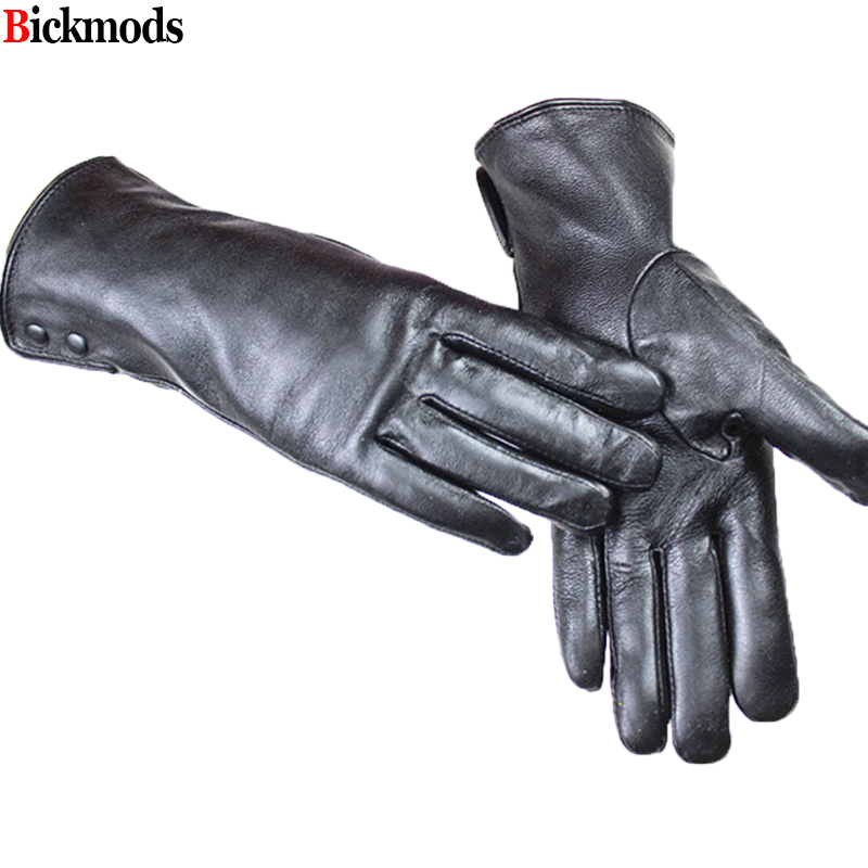 Leather Gloves Female Metal Button Style Velvet Lining Warm Autumn And Winter Free Shipping Sheepskin Gloves
