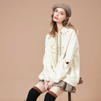 ARTKA 2018 Autumn New Female Embroidered Sweatshirt Casual Long-sleeved Letter Women Medium Long Loose Hoodies VA10989Q - DISCOUNT ITEM  50% OFF All Category