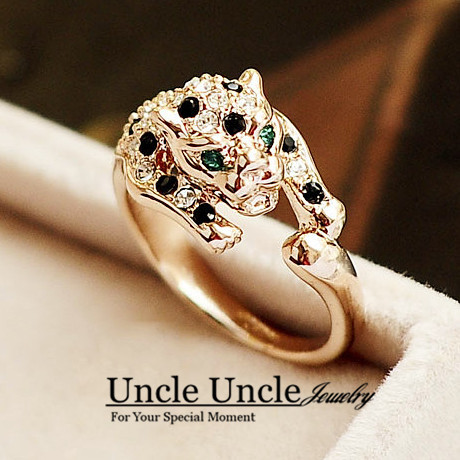 Brand Design Rose Gold Color Austrian Rhinestones Classic Leopard Spotted Luxury Lady Finger Ring Wholesale