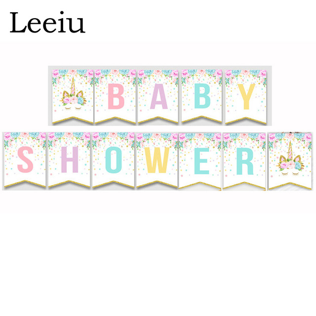 Leeiu Glitter Paper Baby Shower Banners Unicorn Bunting Flags