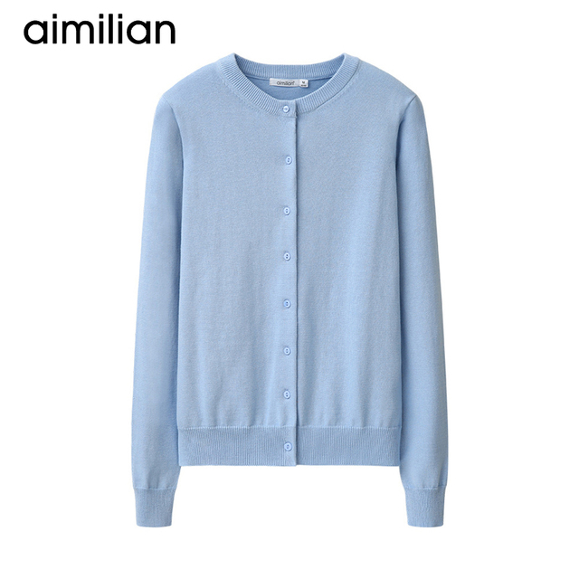 27fdec78ce9 aimilian 2017 New Spring Autumn Women Casual Knitted Shirt Coat Long  Sleeves Candy Color Light Blue Green Pink Red Black Grey