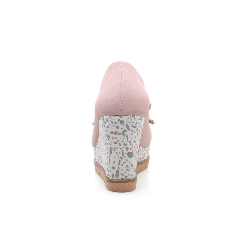 blanc Mariage Grande Pompes Gris Bout Haut forme Karinluna 33 Chaussures Coins 2018 Plate rose Talon De Rond Bowtie Taille Doux Parti Femme 42 pwaYZwBxqS
