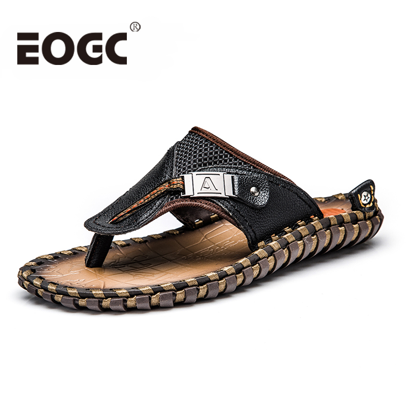 Plus size lederen zomer mannen slippers hoge kwaliteit merk strand - Herenschoenen