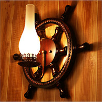 Vintage Creative Wood Glass Rudder Lantern Dia 45cm Led e27 Wall Lamp Hand Crafted Indoor Outdoor Wall Light AC 80 265V 2022