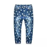 2017 moda primavera do bebê das meninas dos meninos calças jeans crianças denim pentagrama impresso crianças calças de alta qualidade 3-10 anos