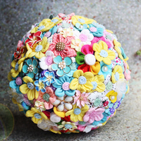 Beautiful romantic cloth Fabric flowers bridal bouquet Handmade Wedding Decoration bouquets Bride Bridesmaids holding flowers