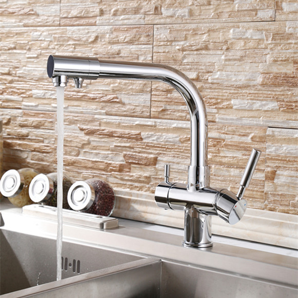 ФОТО 2015 Double fuinction kitchen faucet 3 way filler Kitchen Faucet Three Way Tap for Water Filter