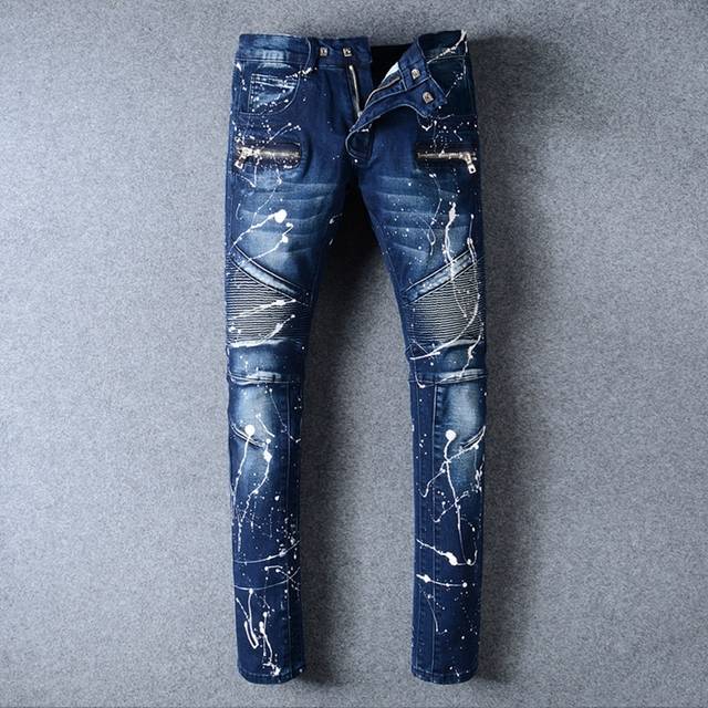 Mens Ripped Biker Jeans 100 Cotton White Splashed Paint Slim Fit Motorcycle Men Vintage Distressed Denim Jean Pants