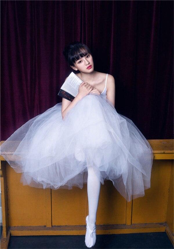Professionnel adulte femme ballet justaucorps jupes danse vêtements combinaison tutu jupe spaghetti sangle longue robe en tulle costume de gymnastique