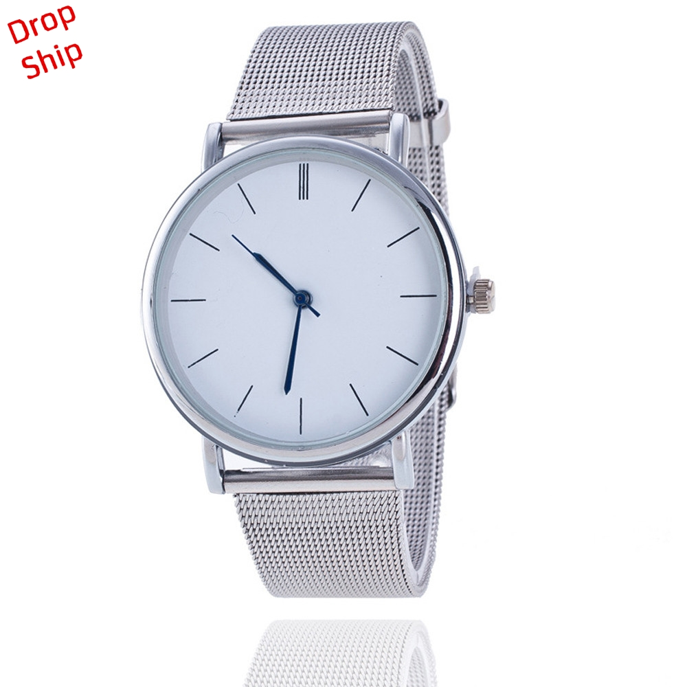 Woman Fashion simple style Women Ladies Silver Stainless Steel Mesh Band Wrist Watch DROP SHIPPING f5m30