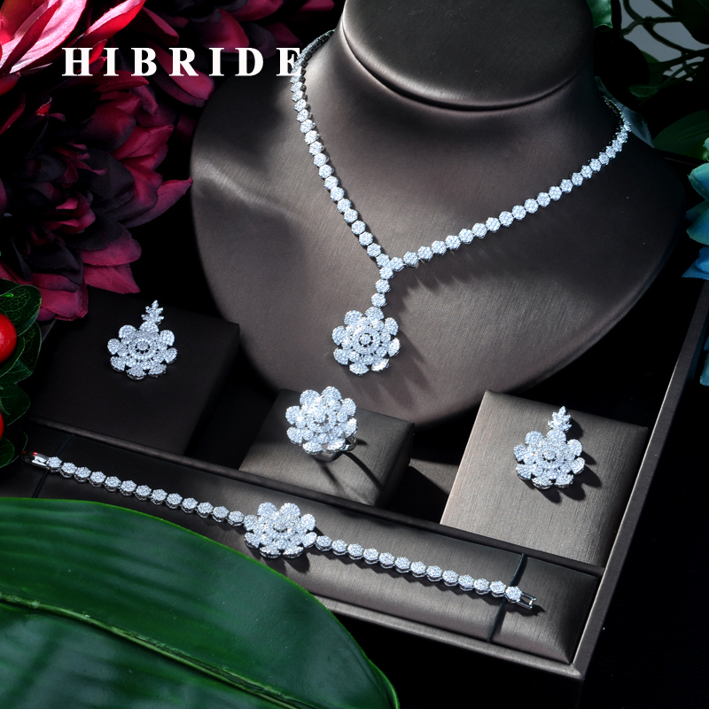 HIBRIDE New Bridal Wedding Jewelry Sets AAA Cubic Zinconia Flower Design 4pcs Big Set Necklace for Women Party Accessories N-110HIBRIDE New Bridal Wedding Jewelry Sets AAA Cubic Zinconia Flower Design 4pcs Big Set Necklace for Women Party Accessories N-110