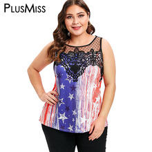 PlusMiss Plus Size 5XL American Flag USA Printed Sexy Lace Mesh Tank Top Women XXXXL XXXL Summer Sleeveless Vest Ladies Big Size цена в Москве и Питере