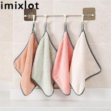Imixlot Hangable Coral Velvet Towel Kitchen Cleaning Cloths Lint Absorbent Rag Dish Cloth Cleaning Cloth Kitchen Dirt Cleaning coral velvet bathroom supplies soft hand towel absorbent cloth dishcloths hanging lint free cloth kitchen accessories